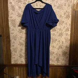 SHEIN Royal Blue Long High Low Dress Butterfly